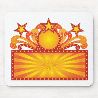 Retro Marquee Sign with Sunrays Stars Illustration Mouse Pad
