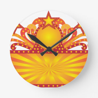 Retro Marquee Sign with Sunrays Stars Illustration Round Clock
