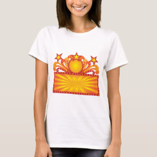 Retro Marquee Sign with Sunrays Stars Illustration T-Shirt