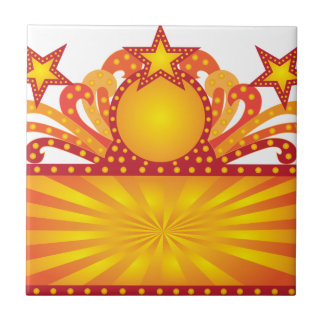 Retro Marquee Sign with Sunrays Stars Illustration Tile