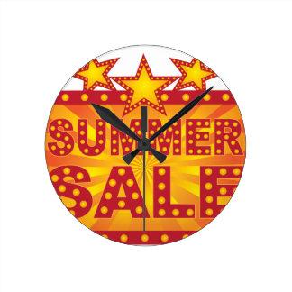 Retro Marquee Summer Sale Sign Illustration Round Clock