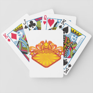 Retro Marquee Welcome Sign Illustration Bicycle Playing Cards