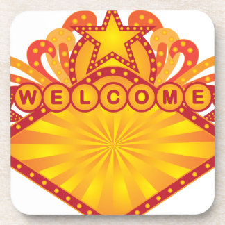 Retro Marquee Welcome Sign Illustration Coaster