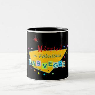 Retro Married In Fabulous Las Vegas Two Tone Mug