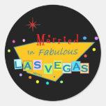 Retro Married in Las Vegas Sticker
