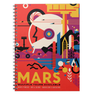 Retro Mars Historic Sites vacation poster Spiral Notebook