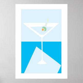 retro martini glass poster