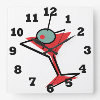 Retro Martini Time Square Wall Clock