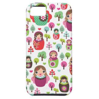 Retro matryoshka russian dolls kids pattern iPhone 5 covers