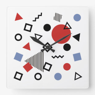 Retro Memphis Design Pattern Square Wall Clock