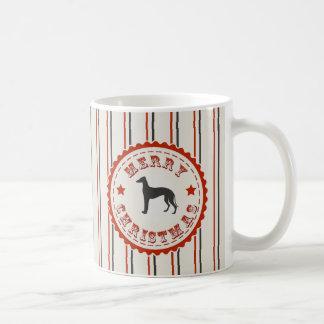 Retro Merry Christmas Greyhound Dog Classic White Coffee Mug
