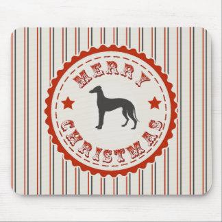 Retro Merry Christmas Greyhound Dog Mouse Pad