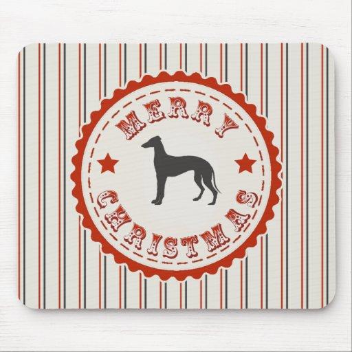 Retro Merry Christmas Greyhound Dog Mouse Pads