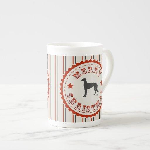 Retro Merry Christmas Greyhound Dog Bone China Mug