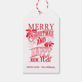 Retro Merry Christmas & Happy New Year Pack Of Gift Tags