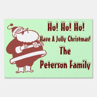 Retro Merry Christmas Santa Yard Sign