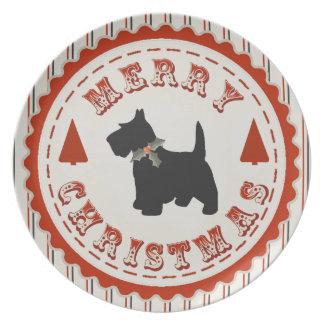 Retro Merry Christmas Scottish Terrier Dog Party Plates