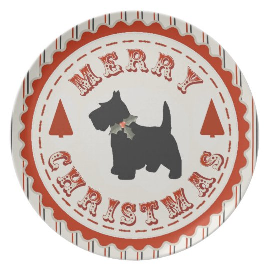 Retro Merry Christmas Scottish Terrier Dog Plate