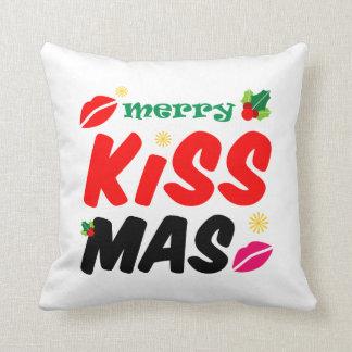 Retro Merry Kissmas Holiday Throw Pillow