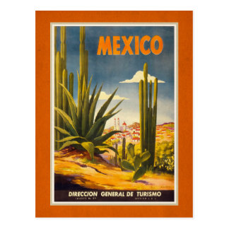Retro Mexico Travel Tourism Ad Postcard