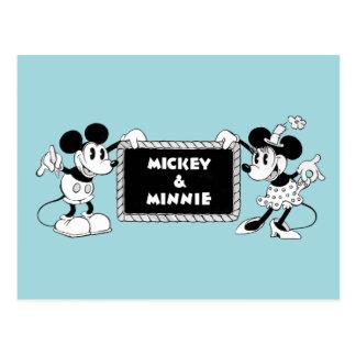 Retro Mickey & Minnie Postcard