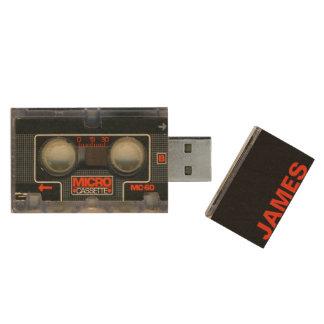 Retro Micro Cassette Audiotape Personalized Wood USB 3.0 Flash Drive