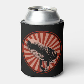 Retro Microphone Graphic Red Can Cooler