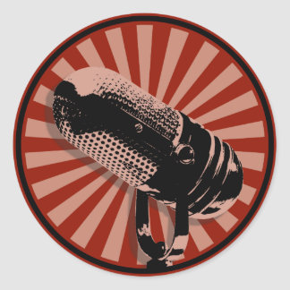 Retro Microphone Graphic Red Classic Round Sticker