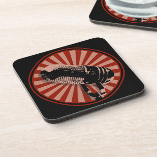Retro Microphone Graphic Red Coaster