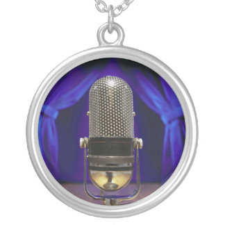 Retro Microphone & Stage Curtains Silver Plated Necklace