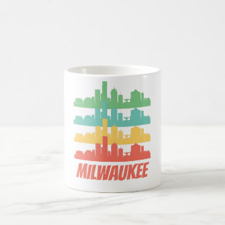 Retro Milwaukee WI Skyline Pop Art Coffee Mug