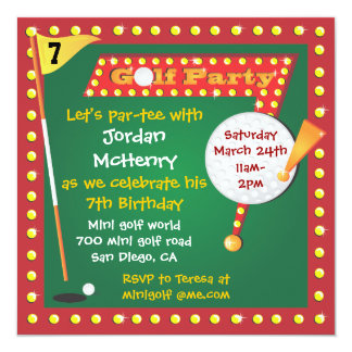 Retro Miniature Golf Party Invitation