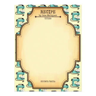 Retro mint stand mixer cookbook recipe letterhead