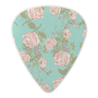 Retro Minty Pastel rose vintage vines pattern Acetal Guitar Pick