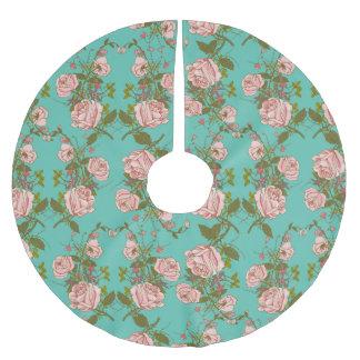 Retro Minty Pastel rose vintage vines pattern Brushed Polyester Tree Skirt