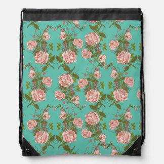 Retro Minty Pastel rose vintage vines pattern Drawstring Bag