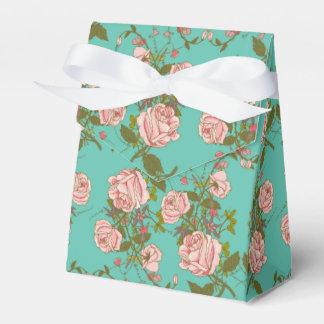 Retro Minty Pastel rose vintage vines pattern Favor Box