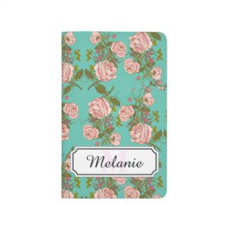 Retro Minty Pastel rose vintage vines pattern Journal