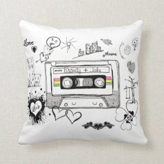 Retro Mixed Tape Love Doodles Valentine Gift Throw Pillow