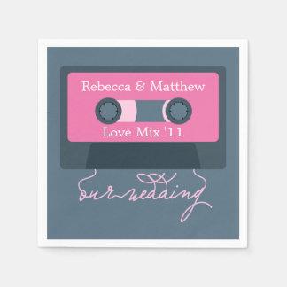 Retro Mixtape Wedding Paper Napkins