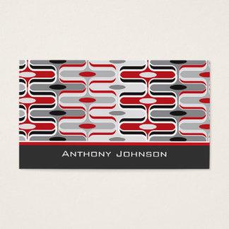Retro Mod Art Deco Zig Zag Funky Pattern Red Black Business Card