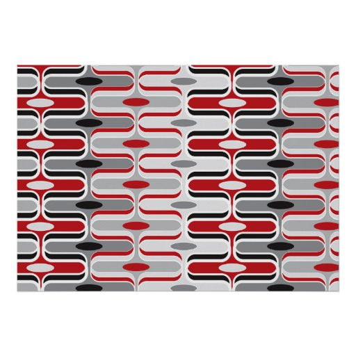 Retro Mod Art Deco Zig Zag Funky Pattern Red Black Poster