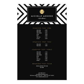 Retro Mod Black and White Pattern Gold Monogram Full Color Flyer