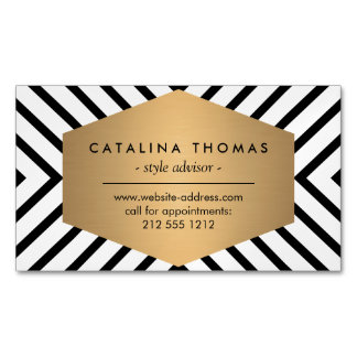 Retro Mod Black and White Pattern Magnetic Business Card Magnet