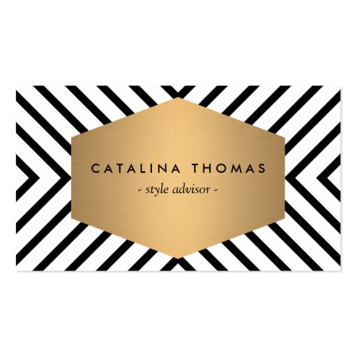 Retro Mod Black and White Pattern with Gold Emblem Business Card Template