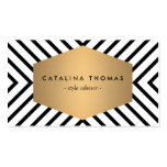 Retro Mod Black and White Pattern with Gold Emblem Pack Of Standard Business Cards