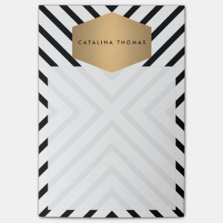 Retro Mod Black and White Pattern with Gold Emblem Post-it Notes