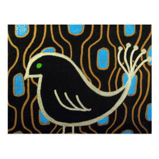 Retro Mod Black Bird Postcard