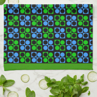 Retro Mod Blue Green Patten Kitchen Towel
