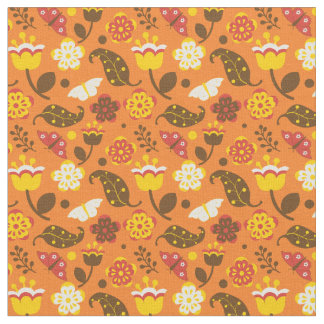 Retro Mod Fall Flowers Fabric